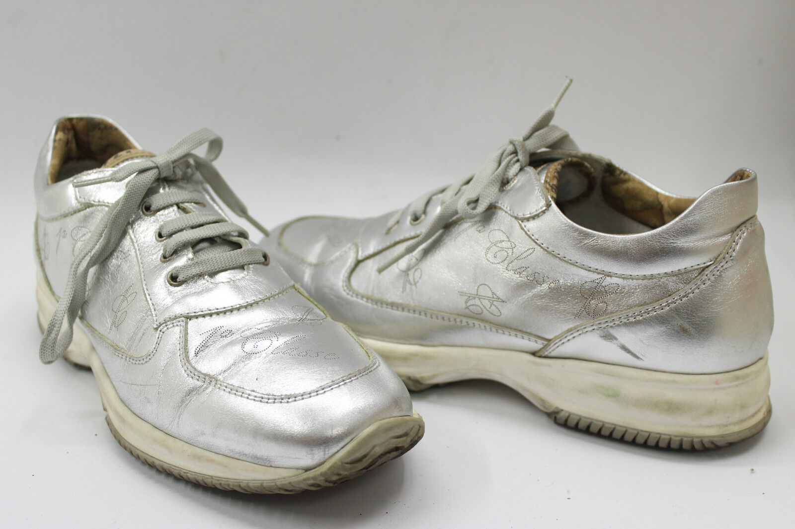 ALVIERO MARTINI Damens schuhe Leder sz 6 Europe 36 silver Leder schuhe S6868 1f78a5