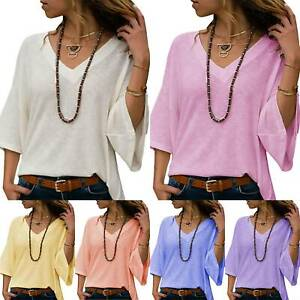 Womens-Ladies-Autumn-Long-Sleeve-V-Neck-Sweater-Casual-Tops-Blouse-Loose-Shirt