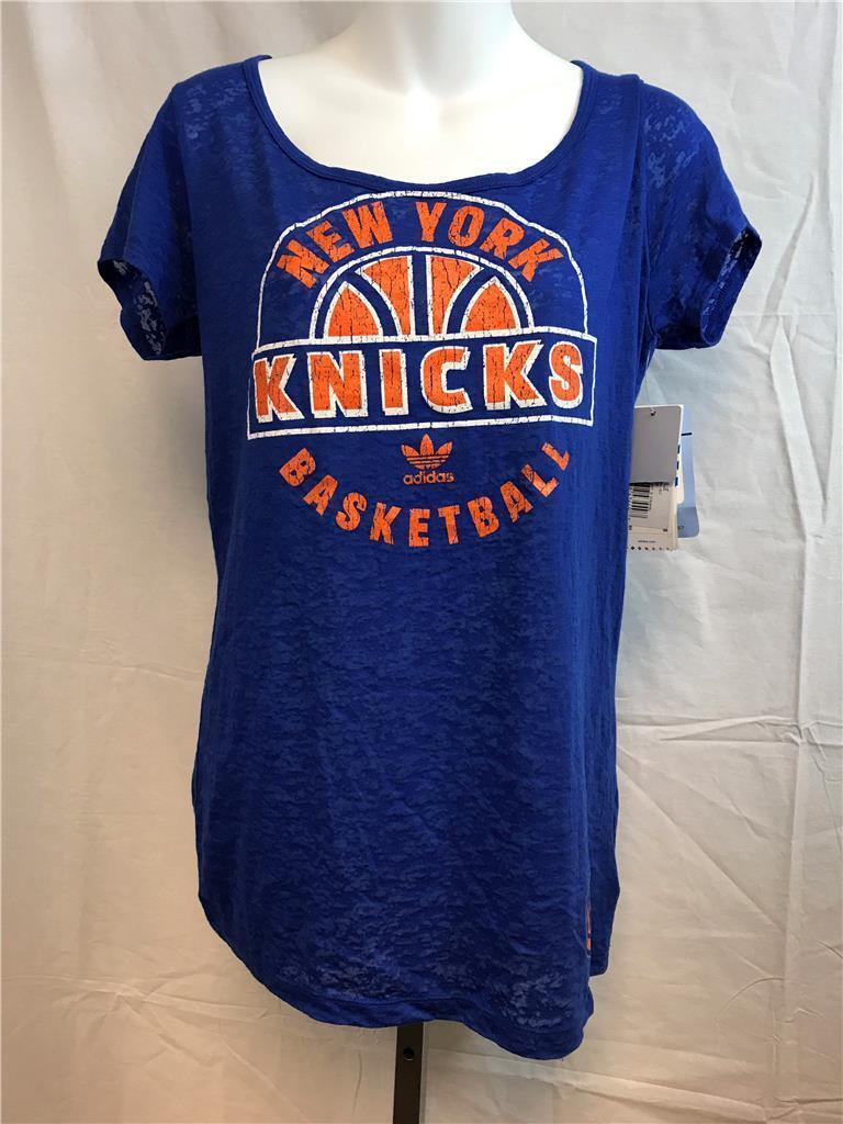 Nueva camiseta New York Knicks para mujer, talla L, azul grande, con adidas, MSRP $ 32