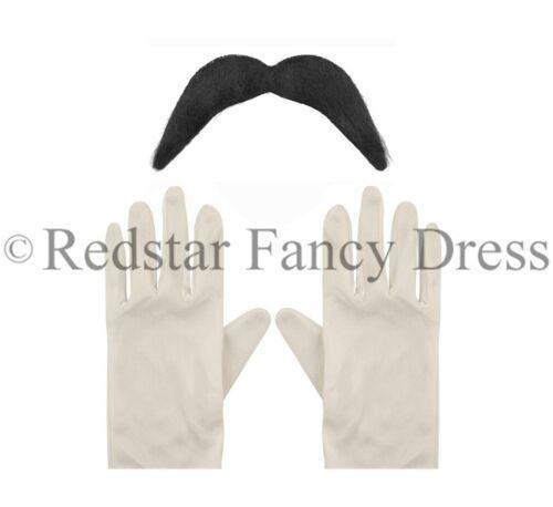 ADULTS WHITE GLOVES /& BLACK MOUSTACHE TASH SUPER MARIO LUIGI FANCY DRESS SET