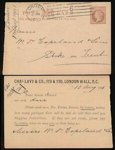 GB QV MACHINE CANCEL on STATIONERY STO CHAS.LEVY 1901