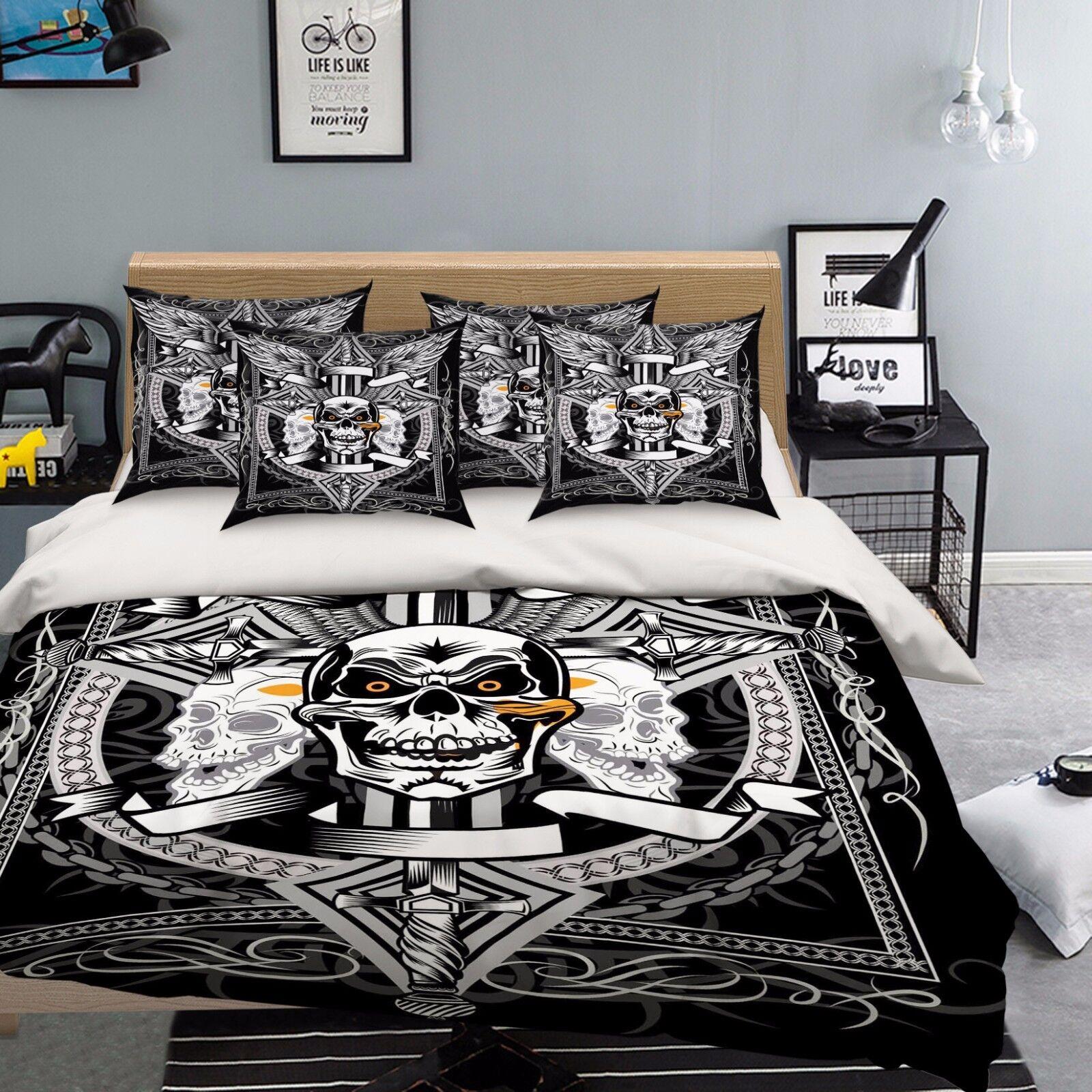 3D Schädel Symbol 422 Bett Kissenbezüge steppen Duvet Decken Set Single DE Carly