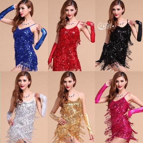 Latin dance dress performance wear adult tassel sequins women ballroom skirt