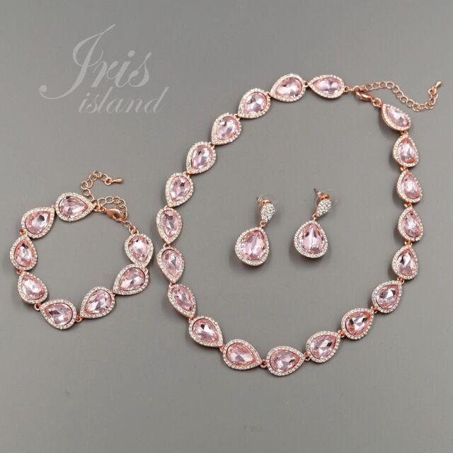 19c7931073b50 Rose Gold GP Pink Crystal Necklace Earrings Bracelet Wedding Jewelry Set  1829