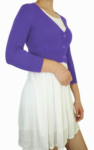 Vintage Women Cropped Cardigan 3//4 Sleeve Fitted V-Neck Soft Knit /& Plus Size