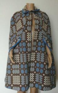 Vintage-Welsh-Tapestry-wool-039-Corgi-039-Cape-cloak-Blue-white-brown-size-M-10-12-14