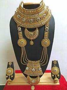 Indian-Bollywood-Ethnic-Fashion-Wedding-Bridal-Gold-Plated-9-PCS-Jewelry-Set