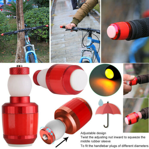 2PC Handle Bar End Plug Signal Lamp LED Warning Light For Bicycle Bike Cycling