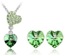 White Gold Plated Austrian Crystal Pendant Necklace & Earring Set   Green Color