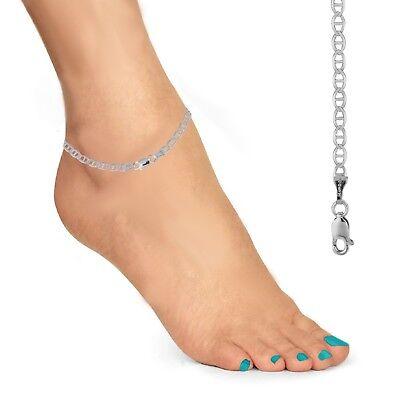 """Sterling Silver Marina Mariner Link Anklet Ankle Bracelet 3.5mm 10/"""" Lobster Lock"""