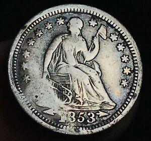 1853 Seated Liberty Half Dime 5C Arrows High Grade Detail US Silver Coin CC5022