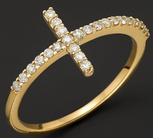 SOLID Yellow gold, 10K Ladies Dazzling Cross Micro Pave CZ Ring Shinning