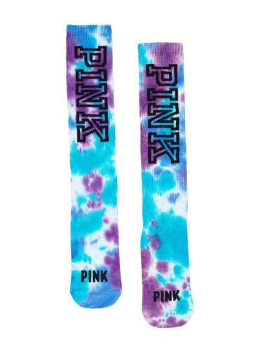 New Victoria/'s Secret PINK Limited Edition Knee High Socks Tie Dye Purple Blue