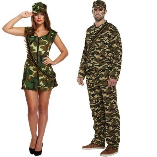 Couples Mens AND Ladies Army Camouflage Military Fancy Dress Costumes Outfits
