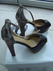 Nine-West-039-Pick-me-up-039-Black-Grey-Leather-Court-Shoe-UK-3-Ref-O-Ex-Con