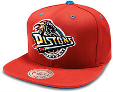 Detroit Pistons Cap NBA Mitchell & Ness Velour Red Snapback Cap - Brand New