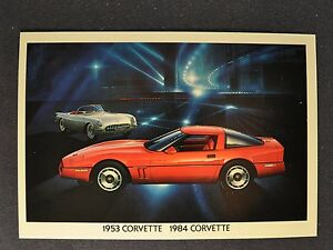 1953 1984 CORVETTE postcard