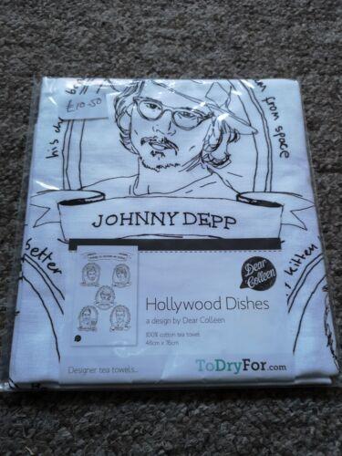 TEA TOWEL BRAND NEW Hollywood Dishes JOHNNY DEPP