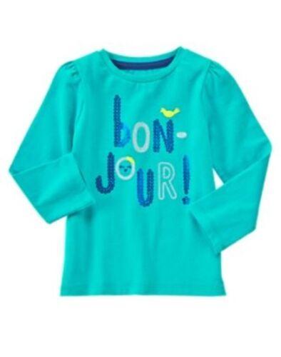 GYMBOREE HAPPY BLUEBIRD TURQUOISE Bon-Jour L//S TEE 12 18 24 2T 3T 4T 5T NWT