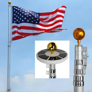 25ft-Flag-Pole-Kit-Telescopic-Aluminum-Flagpole-Solar-Lights-2-Flags