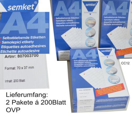 2x200 Blatt DIN A4 9600 Selbstklebende Etiketten 70x37mm SEMKE ähnl Herma 4464