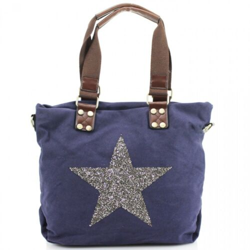 GIrls Women XJ01 Canvas Star Bag Fully Lined Twin Straps Ladies Shoulder Bags