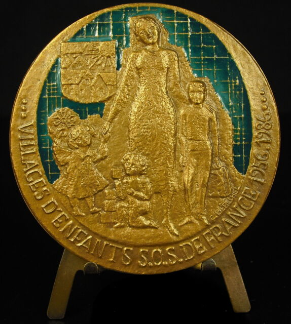 Medaglia smaltata SOS bambini Berechel Sun save bambini smaltato 69 mm medal