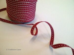East of India Thin Stitch Red Woven Ribbon - Craft Sewing Vintage - Per Metre