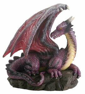 Purple Dragon On Rock Fantasy Figurine