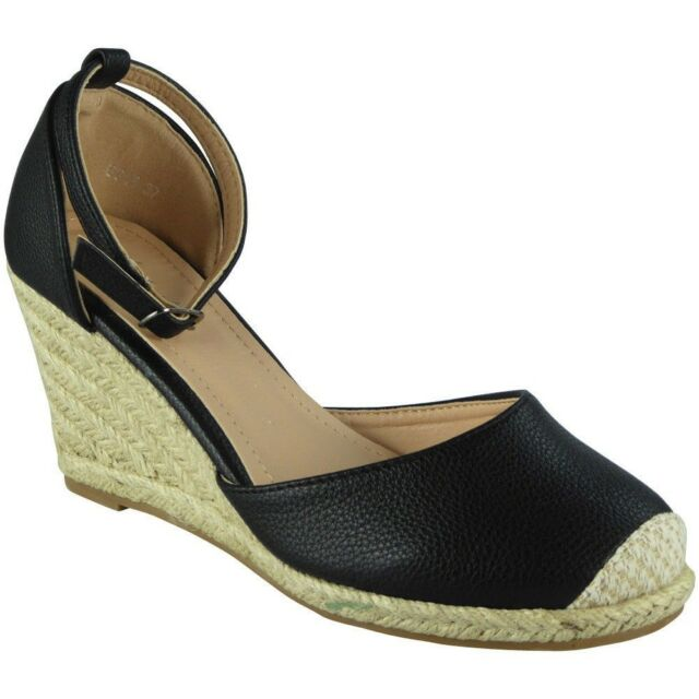b65c5ca1748a Womens Ladies Ankle Strap Espadrilles Platform Shoes Mid Heel Wedge ...