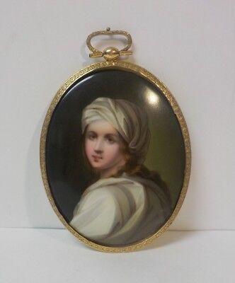 Antike Miniatur Portrait Auf Porzellan, Gold Gefüllt Montage