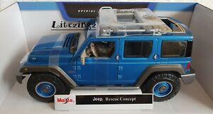 Nuevo-Coche-Modelo-Diecast-1-18-Maisto-Jeep-Rescue-concepto-en-Azul