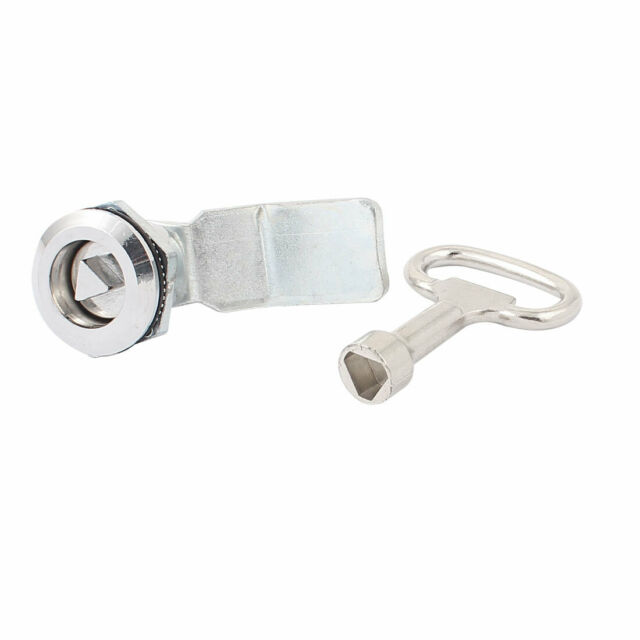 22mm Uxcell Threaded Dia Drawer Cabinet Triangular Panel Lock with Key