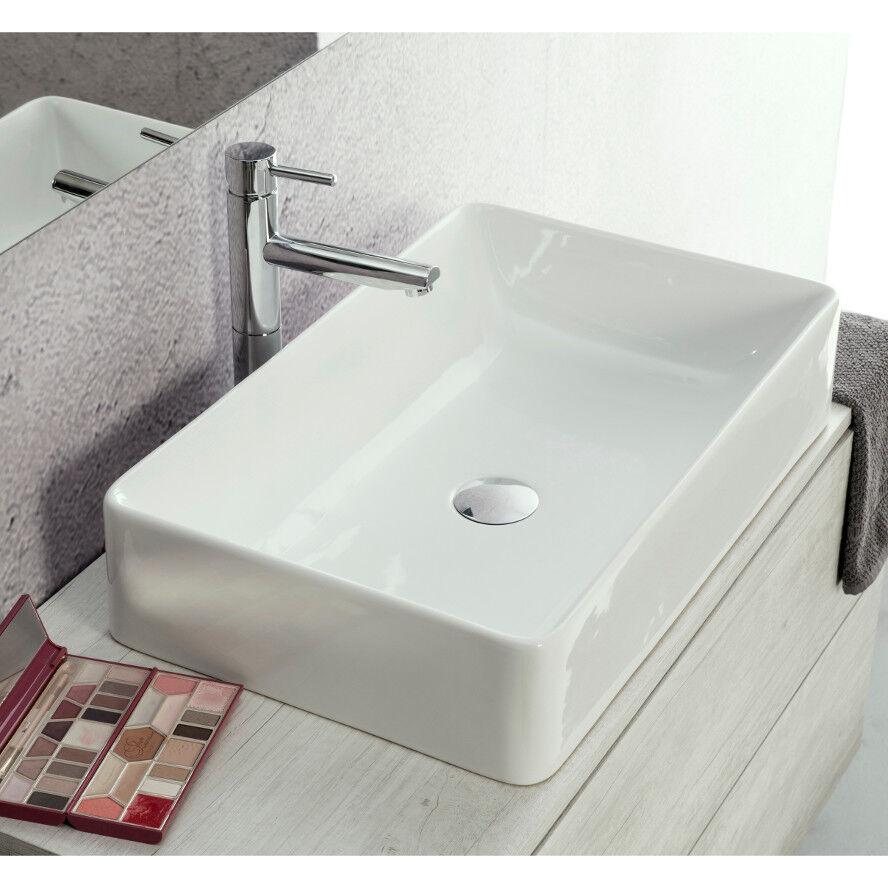 Lavandino Lavabo da Appoggio Rettangolare Slim in Ceramica Bianco 60x38 cm