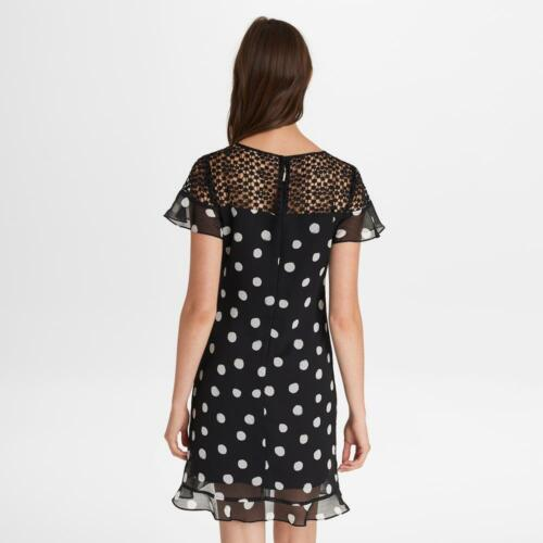 KARL LAGERFELD NWT Exquisite BLACK//IVORY Polkadots flutter sleeve Dress size 4,6