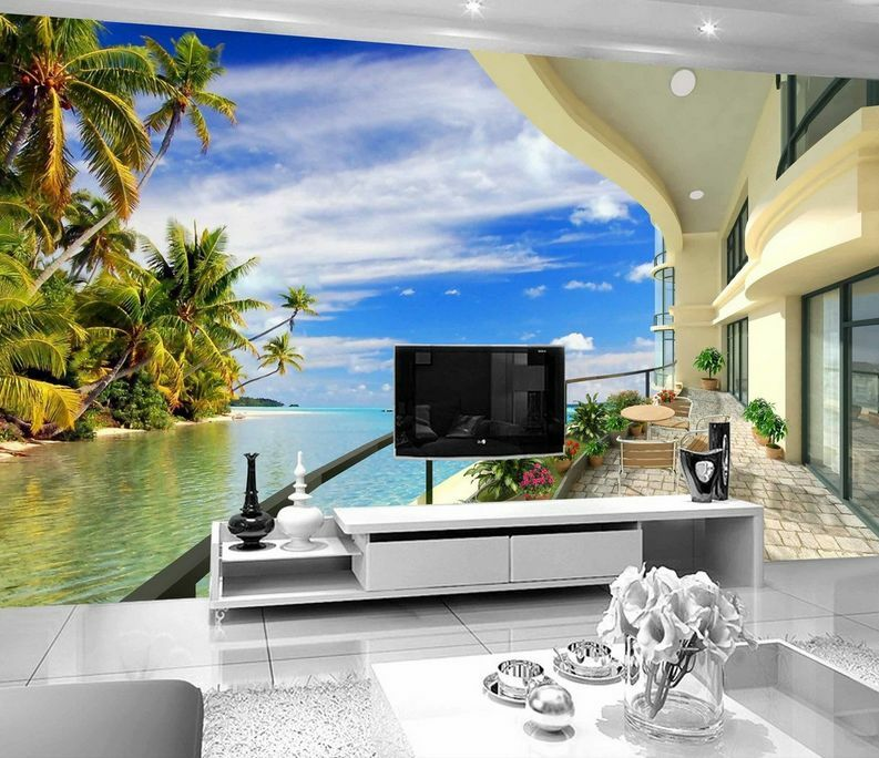 3D Mega Balcony Beach Trees 842 Wall Paper Wall Print Decal Wall AJ Wall Paper