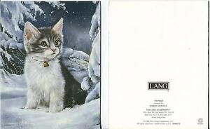 1 CHRISTMAS TABBY CAT KITTEN SNOW CARD 1 THANKSGIVING TURKEY PARADE ART PRINT