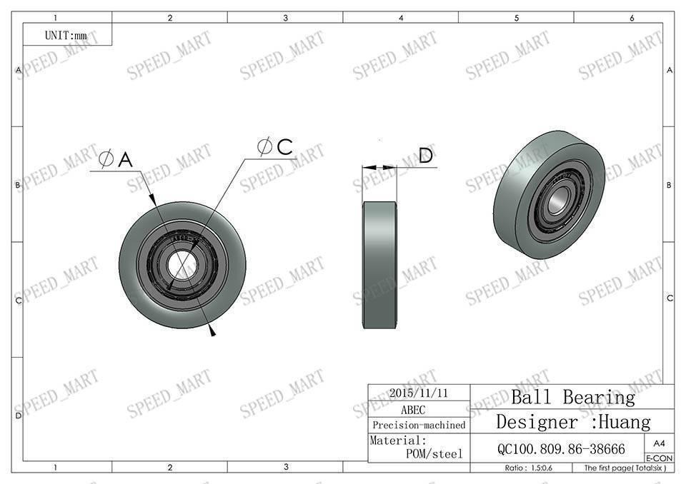 1pcs nylon roller wheel plastic bearings 5 22 7mm guide