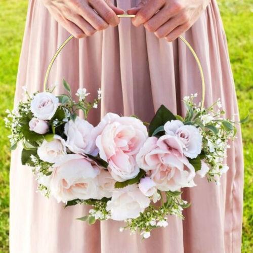 Gold Iron Metal Ring Wreath Garland DIY Bouquet Flower Wedding Decor Baby Shower