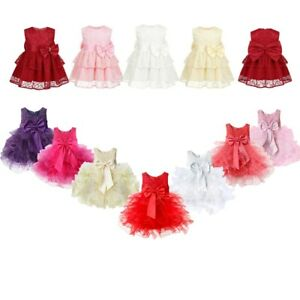 Baby-Girls-Flower-Wedding-Pageant-Princess-Bowknot-Communion-Party-Tutu-Dress