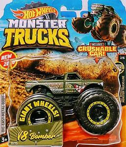New 2020 Hot Wheels Monster Jam V8 Bomber Army Green Monster Truck 1 64 Rare Htf Ebay