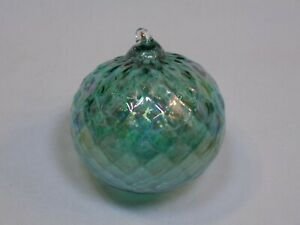 Round-Holiday-Christmas-Ornament-Hand-Blown-Glass-Blue-Green-Rainbow-Iridescent