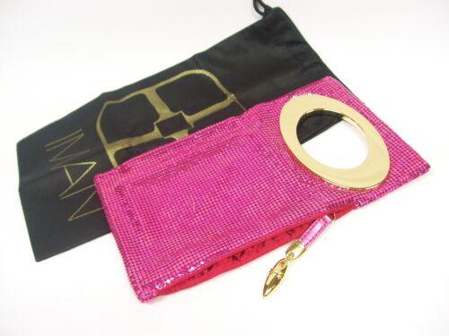 IMAN Shimmer /& Shine Metallic Metal Mesh Mini Clutch $69.90 PINK NWT /& Dust Bag