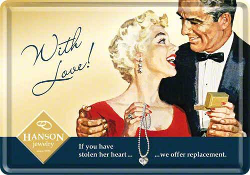 Retro Tin Metal Postcard /'WITH LOVE/' Jewellery Mini Sign 10 x 14cm 1950/'s