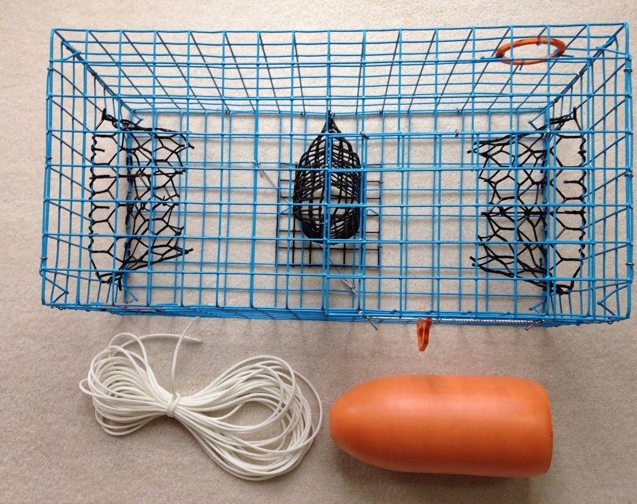 PVC Cangrejo Azul Grado Comercial Olla, 2 TRD's & 50 ft (approx. 15.24 m) línea & Naranja Flotador 5x11