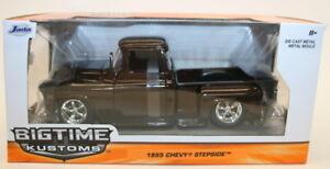 Jada-Escala-1-24-De-Metal-Coche-Modelo-90160-1955-Chevy-Stepside-camioneta-satisfecha-Marron