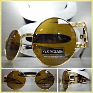 135d827f83 Men CLASSIC RETRO HIP HOP Style SUN GLASSES Round Gold Tortoise ...