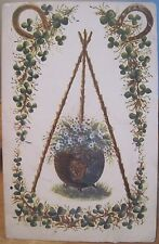 Irish Postcard Shamrocks Pot Harp Forget-Me-Nots Horseshoes Emerald Series 1906