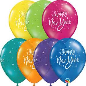 NEW-YEAR-039-S-EVE-BALLOONS-10-x-11-034-NEW-YEAR-COULOURFUL-SPARKLE-QUALATEX-BALLOONS