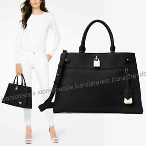 NWT-MICHAEL-KORS-GRAMERCY-LARGE-PEBBLED-LEATHER-SATCHEL-TOTE-BLACK-GOLD